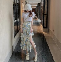 Fashion suit Summer 2021 S L XL M Two piece white top and floral skirt 18-25 years old Daifei cat Cotton 75% polyester 25% Pure e-commerce (online only)