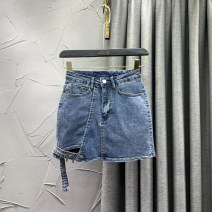 skirt Summer 2021 S M L XL blue Short skirt commute High waist skirt Solid color Type A 18-24 years old VIP0319-10822 71% (inclusive) - 80% (inclusive) Denim W.S.VIP cotton Asymmetric button in pocket Korean version Cotton 80% other 20% Pure e-commerce (online only)