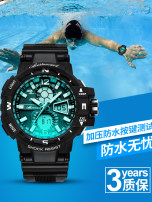 Wristwatch Plexiglass mirror Resin rubber 52.96mm Shop warranty Beiluncard/Carberon male Electronic movement domestic 3ATM 16.14mm Deep chase black dynamic green sky blue cool black gold deep blue fashion Circular Double explicit brand new BL— 1668 Buckle ordinary Dial Spring 2018 ordinary No