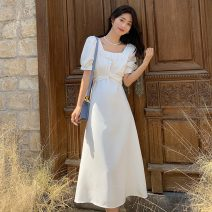 Dress Summer 2021 White, black S,M,L,XL,2XL longuette singleton  Short sleeve commute square neck High waist Solid color Socket A-line skirt other Others 18-24 years old Type A lady 71% (inclusive) - 80% (inclusive) other polyester fiber