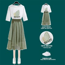 Dress Summer 2020 S,M,L,XL Mid length dress Two piece set Short sleeve commute Crew neck middle-waisted Solid color Socket A-line skirt routine 18-24 years old Type A Other / other Korean version More than 95% other