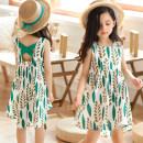 Dress green female Bad little treasure 110cm,120cm,130cm,140cm,150cm,160cm Other 100% summer Korean version Skirt / vest Broken flowers cotton Irregular