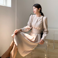 Dress Autumn 2020 Apricot S M L Mid length dress singleton  Long sleeves commute Crew neck High waist Solid color Socket One pace skirt puff sleeve Others 30-34 years old Type H Rock language Korean version Pleated pocket lace up three-dimensional decorative button waist cover YY032 other