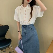 Women's large Summer 2021 S M L XL Dress Two piece set commute easy moderate Cardigan Short sleeve Korean version Polo collar routine Denim routine Belles of ladybro 18-24 years old Embroidery Medium length Other 100% Pure e-commerce (online only)
