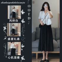 Women's large Summer 2021 Single top single Skirt Top + skirt S M L XL Dress Two piece set commute Short sleeve Korean version V-neck routine routine Belles of ladybro 18-24 years old longuette Other 100% Pure e-commerce (online only)