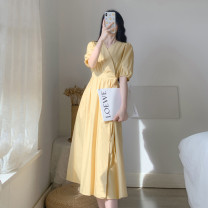 Women's large Summer 2021 Peacock blue light yellow white S M L XL Dress singleton  commute Straight cylinder Short sleeve Korean version V-neck Medium length puff sleeve Belles of ladybro 18-24 years old Other 100% Pure e-commerce (online only)