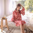 Nightdress Other / other Average size Sweet Long sleeves pajamas Middle-skirt spring Plants and flowers youth V-neck More than 95% silk