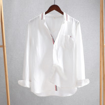 shirt Youth fashion Others S,M,L,XL,2XL white routine square neck Long sleeves standard Other leisure spring ITBK-1613190036653 youth Youthful vigor 2021 Solid color Linen washing hemp Decorative loop Soft Gloss  50% (inclusive) - 69% (inclusive)