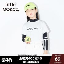 T-shirt Little MO&CO. neutral summer Short sleeve Crew neck Europe and America There are models in the real shooting nothing cotton Cotton 100% Summer of 2018 3 years old, 4 years old, 5 years old, 6 years old, 7 years old, 8 years old, 9 years old, 10 years old, 11 years old, 12 years old