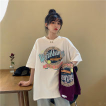 T-shirt White, purple S,M,L Summer 2021 Short sleeve Crew neck easy Regular routine commute cotton 51% (inclusive) - 70% (inclusive) 18-24 years old Korean version MY