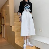 skirt Summer 2021 S,M,L Khaki, white, black Mid length dress commute High waist A-line skirt Solid color Type A 18-24 years old MY 51% (inclusive) - 70% (inclusive) Korean version