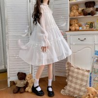 Dress Summer 2021 Apricot, white, black S,M,L Middle-skirt singleton  Long sleeves commute Crew neck High waist Solid color Socket A-line skirt pagoda sleeve 18-24 years old Type A Korean version MY 51% (inclusive) - 70% (inclusive)