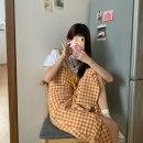 Fashion suit Summer 2021 S,M,L Short sleeve suit, orange plaid skirt 18-25 years old MY 51% (inclusive) - 70% (inclusive) cotton