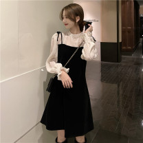Dress Spring 2021 Black, red S, M Middle-skirt Fake two pieces Long sleeves commute Crew neck middle-waisted Broken flowers Socket A-line skirt routine camisole 18-24 years old Type A Korean version zipper MY 51% (inclusive) - 70% (inclusive) Chiffon polyester fiber