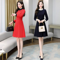 Dress Winter 2020 Orange, deep green M,L,XL,2XL,3XL Mid length dress singleton  Long sleeves commute Crew neck middle-waisted Solid color other Princess Dress other 25-29 years old Korean version pocket 137d6650 with belt other Cellulose acetate