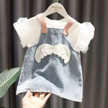 Yoga clothes 80,90,100,110,120,130 Bubble sleeve T-shirt, wing denim skirt, two piece denim T-shirt female Other / other suit female sex Short sleeve Cropped Trousers
