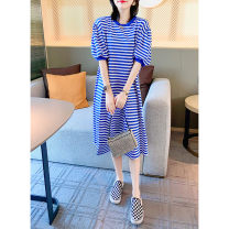 Dress Summer 2021 Red blue S M L XL Mid length dress singleton  Short sleeve street Crew neck High waist stripe routine 30-34 years old Embroider Meng Yue BI202v90635p0170 81% (inclusive) - 90% (inclusive) polyester fiber Polyester 85% polyamide 15% Pure e-commerce (online only) Europe and America