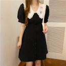 shirt Black and white S M L Summer 2020 other 96% and above Short sleeve commute Regular Doll Collar Single row multi button bishop sleeve Solid color 18-24 years old Sticking core rabbit Korean version Other 100% Pure e-commerce (online only)