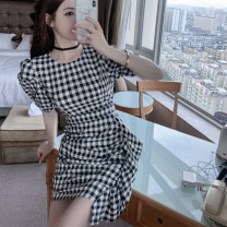 Women's large Summer 2021 Black and white S M L XL Dress singleton  commute Socket Short sleeve lattice lady Crew neck puff sleeve Sticking core rabbit 18-24 years old Short skirt Other 100% Ruffle Skirt