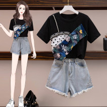Women's large Summer 2021 Large denim shorts suit Big XL big XXL big XXXL big L Other oversize styles Two piece set commute thin Socket Short sleeve Retro Medium length Three dimensional cutting Bu Chen 25-29 years old Other polyester 95% 5% Pure e-commerce (online only) shorts