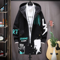 Jacket Monkd Youth fashion M L XL 2XL 3XL routine easy Other leisure spring Polyester 100% Long sleeves Wear out Hood tide teenagers Medium length Zipper placket Slant hem Splash ink Closing sleeve Geometric pattern Spring 2020 Zipper decoration Digging bags with lids Pure e-commerce (online only)