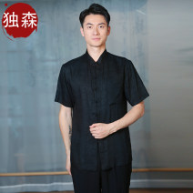 shirt Youth fashion Dusen XS S M L XL XXL black Thin money stand collar Short sleeve standard Other leisure summer youth Polyethylene terephthalate (polyester) 100% Chinese style 2021 lattice 2011 washing polyester fiber Button decoration Exclusive payment of tmall More than 95%