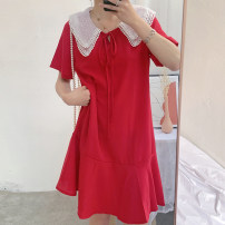 Dress Pomelo to see you Red pregnant women red lactation black pregnant women black lactation M L XL XXL XXL enlarge XXXL Korean version Short sleeve Medium length summer Lapel Solid color