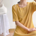 Dress Pomelo to see you Yellow black M L XL XXL Korean version Short sleeve Medium length summer square neck Solid color A112