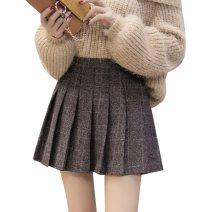 skirt Autumn 2020 S,M,L,XL,2XL black Short skirt Versatile High waist Pleated skirt lattice Type A 25-29 years old 91% (inclusive) - 95% (inclusive) Wool other
