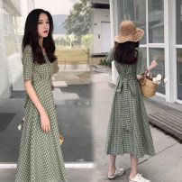 Women's large Summer 2021 Green bean paste red L XL S M 2XL singleton  commute Short sleeve lattice Korean version V-neck routine routine EQLR93068 Diao Huan 18-24 years old Other 100% Pure e-commerce (online only)