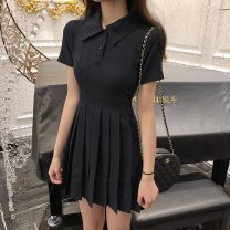 Dress Summer 2021 Black Navy S M L XL Short skirt singleton  Short sleeve commute Polo collar High waist Solid color Socket routine 18-24 years old Diao Huan Korean version DH6541234102041230 More than 95% other Other 100% Pure e-commerce (online only)