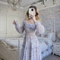 Dress Spring 2021 Picture color S M L Mid length dress singleton  Long sleeves commute square neck other Others 18-24 years old Satin Korean version LT0027 More than 95% other Other 100% Pure e-commerce (online only)