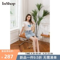 skirt Summer 2021 S M L wathet Short skirt Natural waist Denim skirt Type A 18-24 years old 0421B01005 More than 95% INSHOP other Button Other 100% Same model in shopping mall (sold online and offline)