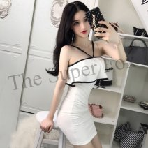 Dress Winter of 2018 White, black S, M Short skirt singleton  Sleeveless commute One word collar middle-waisted Solid color zipper One pace skirt other camisole 18-24 years old Type H Other / other Korean version Ruffle, open back, stitching, zipper