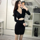 Dress Autumn 2020 Shiny black Contact customer service for additional purchase Short skirt singleton  Long sleeves commute V-neck High waist Solid color Socket One pace skirt routine Others 25-29 years old Princess Jiao Luo Open back sequins AETH11120 More than 95% other Other 100%