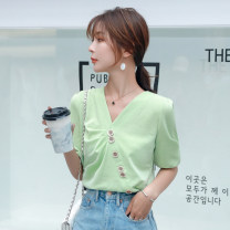 Lace / Chiffon Summer 2020 Green white S M L XL elbow sleeve commute Cardigan singleton  easy Regular V-neck Solid color routine 25-29 years old Zhi Hao ZH5210043 Three dimensional decorative asymmetric button with pleated auricular stitching thread Korean version Other 100%