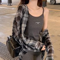 Lace / Chiffon Summer 2021 Check color (sunscreen shirt) thin black (suspender skirt) dark gray (suspender skirt) S M L XL Long sleeves Regular Polo collar routine Junis D690 Other 100%
