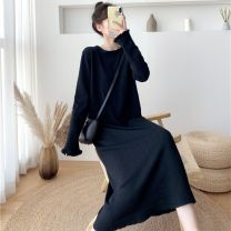 Dress Winter 2020 Black apricot Pink S M L longuette singleton  Long sleeves commute Crew neck Loose waist Solid color Socket One pace skirt routine 25-29 years old Type H Regner Korean version More than 95% knitting other Other 100% Pure e-commerce (online only)
