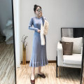 Dress Autumn 2020 Black apricot light purple light pink Average size longuette singleton  Long sleeves commute Crew neck High waist Solid color Socket A-line skirt routine 25-29 years old Type A Regner Korean version RGN9366 30% and below knitting polyester fiber Viscose (viscose) 70% polyester 30%