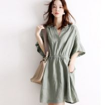 Dress Spring 2021 Light green Middle-skirt singleton  Short sleeve Bat sleeve Other Solid color 30% and below