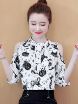 Lace / Chiffon Summer 2021 White, black, black [skirt] S,M,L,XL,2XL three quarter sleeve commute Socket singleton  easy Regular Crew neck other routine 25-29 years old Hollow out, pleating, folding, printing, three-dimensional decoration, 3D, resin fixation Korean version polyester fiber