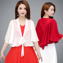 Lace / Chiffon Summer 2021 White black big red blue purple XL 2XL 3XL 4XL 5XL elbow sleeve Versatile Cardigan singleton  easy have cash less than that is registered in the accounts V-neck Solid color pagoda sleeve 40-49 years old Zhenfei (clothing) Lace up