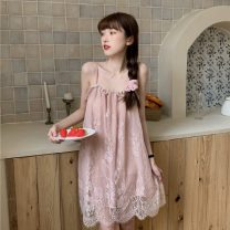 Pajamas / housewear set female nxhj Average size Pink White Black other Sleeveless Sweet summer One word collar Solid color Socket youth Lace fabric Hollowing out W1494 Other 100% Summer 2021 Pure e-commerce (online only) Short skirt