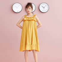 Pajamas / housewear set female S M L orange cotton Sleeveless Sweet Living clothes summer routine One word collar Solid color Socket youth More than 95% pure cotton Lotus leaf edge Cotton 100% Spring 2020 Pure e-commerce (online only) Middle-skirt