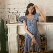 Square Dance Dress Short sleeve other Broken flower longuette Flying sleeve 220644696357 female Picture color, collection and purchase priority delivery S,M,L