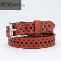 Belt / belt / chain top layer leather female belt leisure time Single loop Children: 1-6 years old, young, middle-aged and old Pin buckle Geometric pattern soft surface 1.8cm alloy Bare embossed inlay hollow rivet Sequin thick line decorative frosted Plaid Ji Cheng YZ408 98cm 103cm 108cm 113cm no