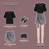 Fashion suit Summer 2021 S M L XL average size Black T-shirt black check skirt black T-shirt + black check skirt 25-35 years old Wen Lianyi 2104D-0804/2007A-1228 Other 100% Pure e-commerce (online only)