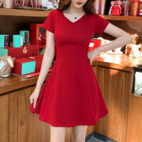 Dress Spring 2021 Red and black 2XL S M L XL Mid length dress singleton  Short sleeve commute V-neck High waist Solid color Socket A-line skirt routine Others 25-29 years old Type A Dazzle the phantom Korean version Splicing xmyQ010 91% (inclusive) - 95% (inclusive) other cotton