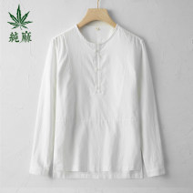 shirt Fashion City Preface to the Han Dynasty S M L XL 2XL Black white sky blue Thin money No collar Long sleeves easy Other leisure spring HXMD2021C001 youth Flax 55% cotton 45% Chinese style 2021 Solid color Linen Spring 2021 No iron treatment hemp Pure e-commerce (online only)