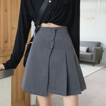skirt Spring 2021 S M L XL 9636 grey 9636 black Short skirt commute High waist A-line skirt Solid color Type A 18-24 years old More than 95% Wool Lingan Lingyu other Button Other 100%